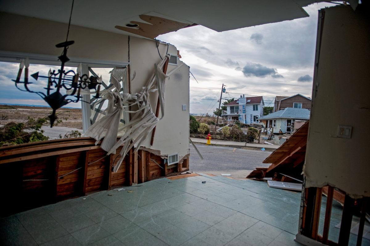 Destroyed homes in Rockaway neighborhood of Queens, New York City.