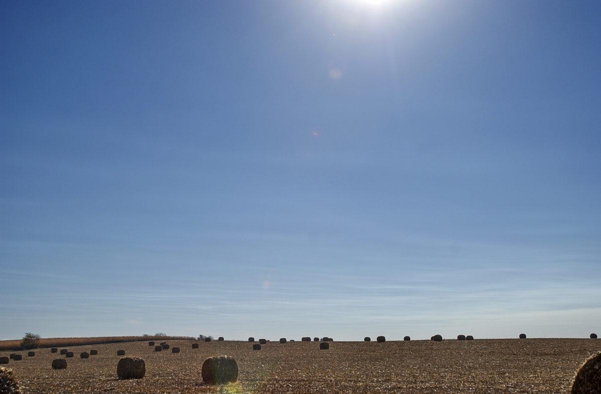 Hay bales in Storm Lake, Iowa, October 23, 2003.