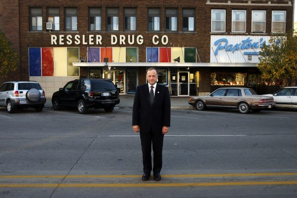 Freshman Representative Steve King (R-IA) takes time for a portrait outside his office on Lake St. in downtown Storm Lake, Iowa, October 23, 2003.